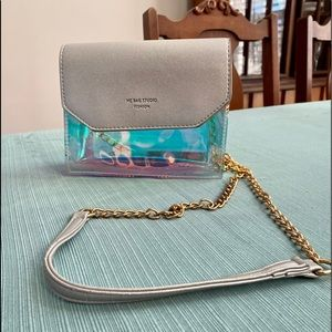 Holographic clear bag crossbody with chain